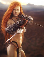 Twin Daggers, Fantasy Woman Warrior Art, DS Iray by shibashake