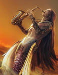 Sax at Sunset, Fantasy Merman Art, Daz Studio Iray by shibashake