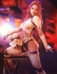 Storm-Trooper Elf Girl, Fantasty Woman 3D-Art by shibashake