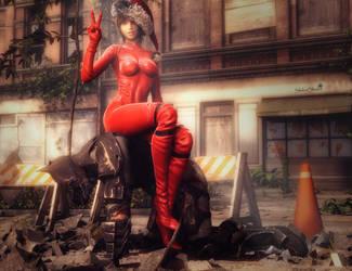 Santa Girl Wins!, Batman DC Fan-Art, Daz Studio by shibashake