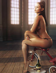 Tricycle, Sexy Woman Pin-Up Art, Daz Studio Iray by shibashake