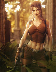 Lara Croft, Girl with Guns Fantasy Fan-Art by shibashake