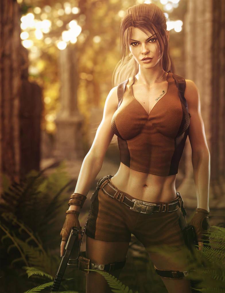 Lara Croft, Girl With Guns Fantasy Fan-Art By Shibashake -8032