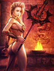 Spear Maiden, Blond Warrior Woman Fantasy 3D-Art by shibashake