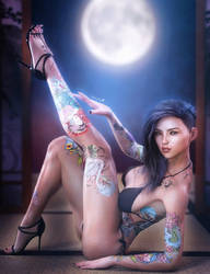 Asian Ink, Fantasy Woman Pin-Up Art, Daz Studio by shibashake