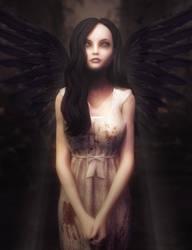 Dark Angel Girl, Gothic Fantasy Woman Art, DS Iray by shibashake
