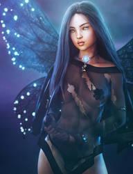 Dark Fairy, Black-Haired Fantasy Woman Art, Iray by shibashake