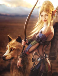 Elf Archer Girl and Wolf, Fantasy Woman Art, Iray by shibashake