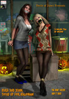 Sara and Dawn - 'Toyed up' for Halloween by Golavus