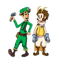 Owlboy and green guy by LazerSofa