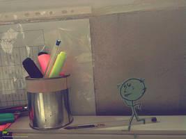 my new draw runin' on my desk by ahdaiba