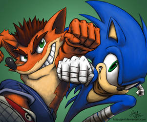 Sonic and Crash by JenL