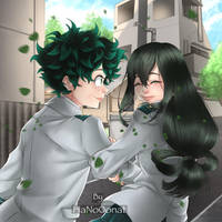 commission izuku and tsuyu by HaNo0onat