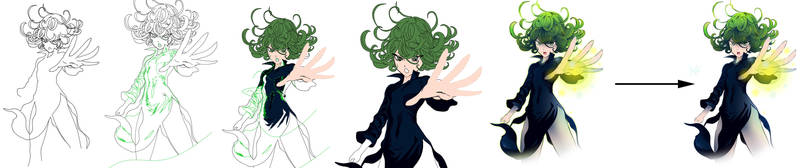 One Punch Man - Tatsumaki (Process strip) by xAnacondax