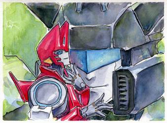 Jazz and Sideswipe watercolors by Aiuke