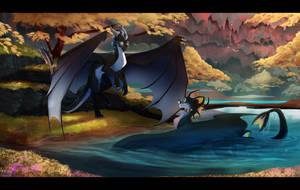 Aqua and Shadow by Skaydie