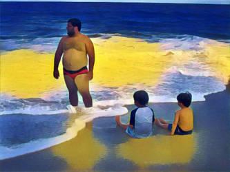 fat boy at the beach by slugpitcher