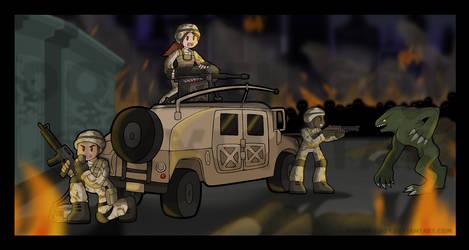 Soldiers vs B.O.W. by DoubleLeggy