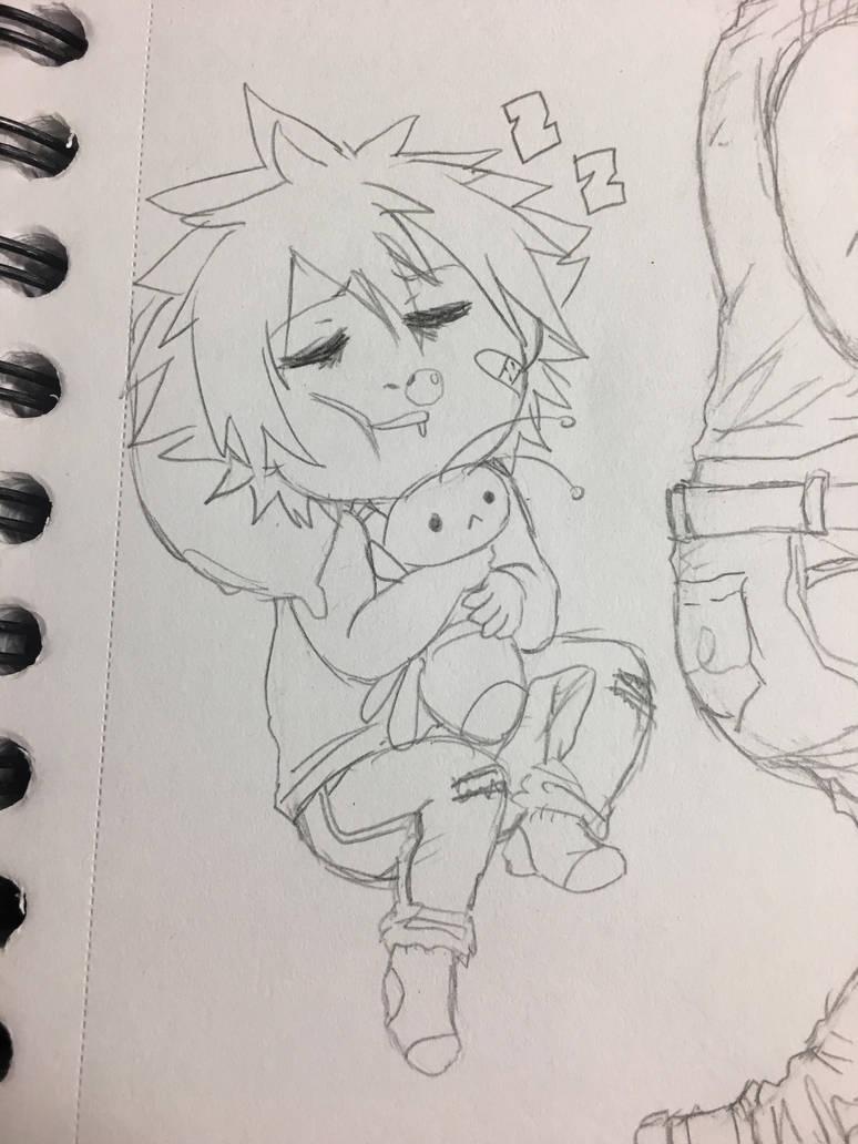 Sleepy baybee and his plush by La-Anime