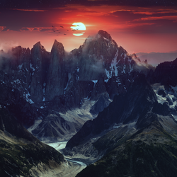 Mountain Landscape Red Sunset by vmaharaj