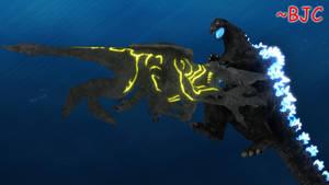 [MMD] Godzilla Heisei vs. Knifehead by BigJohnnyCool