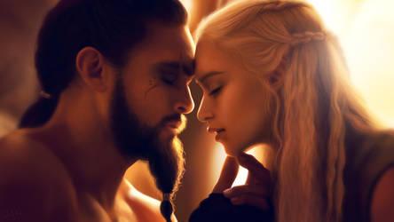 Khal Drogo and Khaleesi by sofiaart