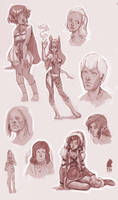 chars doodles by DawnElaineDarkwood
