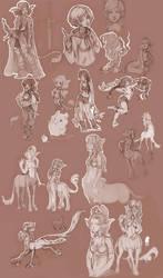 mostly centaur sketches by DawnElaineDarkwood
