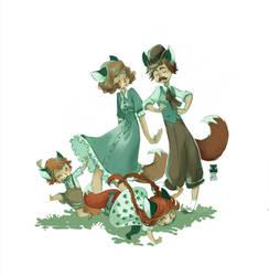Foxfamily by DawnElaineDarkwood