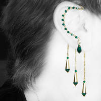 Emerald and gold ear wrap v10- SOLD by YouniquelyChic