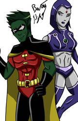 Beast Boy and Raven cosplay by bearhow