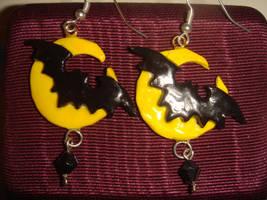 Bat and Moon Earrings by KittyAzura