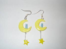 Bunny on Moon with Star by KittyAzura