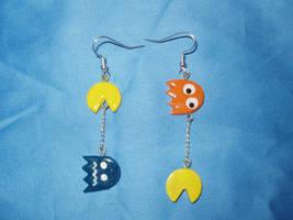 pac-man earrings orange by KittyAzura