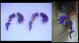 Purple Fake Gauge Tentacle Earrings by KittyAzura