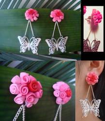 Butterfly and Rose Ball Earrings by KittyAzura