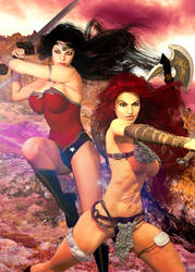 Crossover: Wonder Woman and Red Sonja by Zulubean