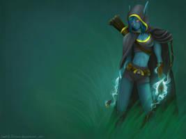 Traxex, Drow Ranger by Juhani