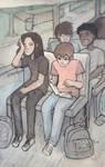 Bus Ride (Inktober Day 13) by Hanakoori13