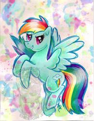 Rainbow Dash Watercolor G4 by BarbedDragon
