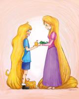 Finn and Rapunzel by WortCat