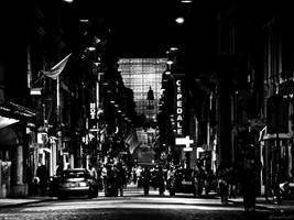 Via del Corso, Noir. BW vers. by Bluvertical