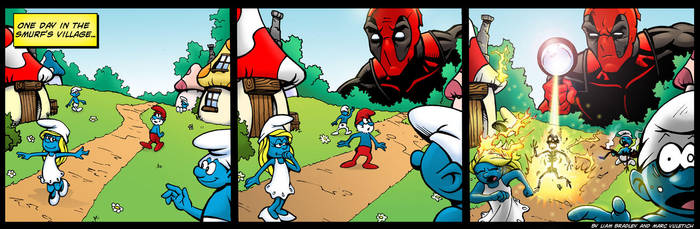 Deadpool vs The Smurfs by ScarletVulture