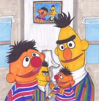 ernie and bert, with puppets by MoonCREEPER