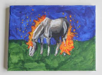 Fiery silver horse by x-Imagination