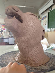 Wolf clay bust by redghost187