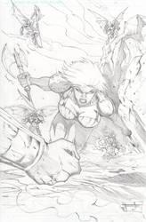 Cynn and Kobold battle by TorruellasArts