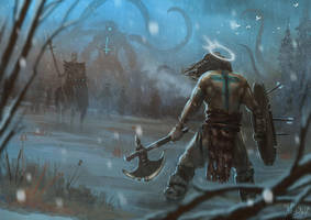Barbarian vs Evil by Traaw