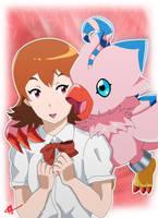 Sora and Piyomon - Digimon Adventure Tri by Fayrin-kun