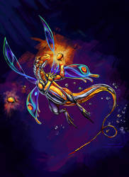 Metallic fae dragon by ravenoo
